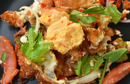 spicy batter fried egg slice with chop chicken meat Thai salad on plate
