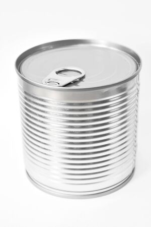 tin can food with opener on white background