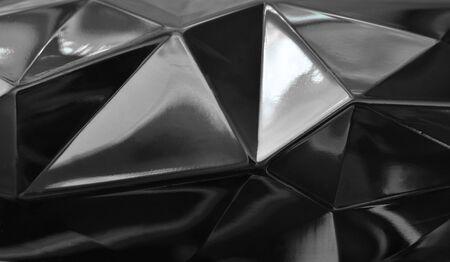 black plastic geometry shape background and texture Stockfoto