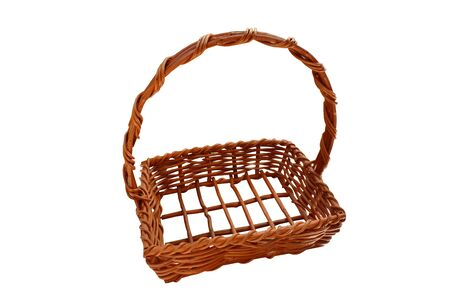 wooden basket for gift packaging in white background