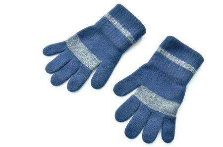 blue winter gloves for protect cold temperature on white background