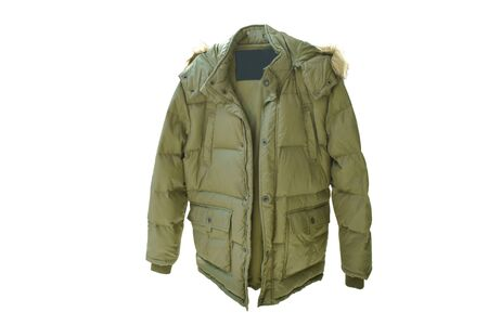 brown winter jacket for protect cold temperature on white background Stockfoto
