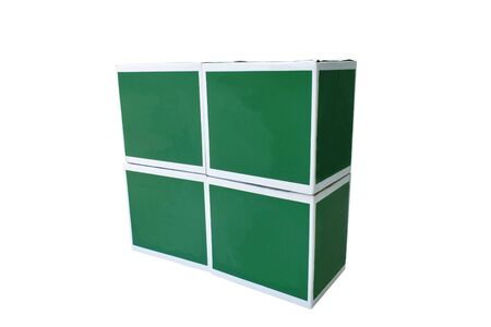 green and white box stacking on white background Stock fotó