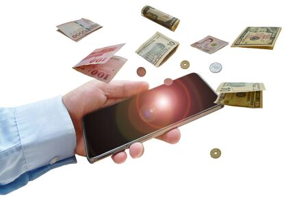hand holding mobile phone with international banknote and coin floating  on white background