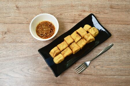 deep fried tofu dipping with sweet crushed bean sauce on plate Stock fotó