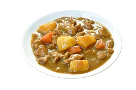 pork with potato and carrot in Japanese curry on plate Stock fotó