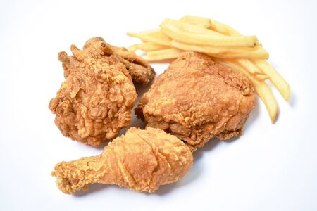 fried chicken and French fries fast food on white background Stok Fotoğraf