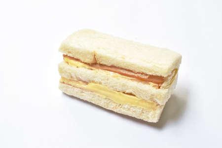 sandwich stuffed ham and cheese on white background Фото со стока