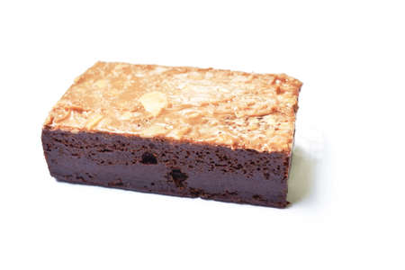 brownie chococlate cake topping bean on white background