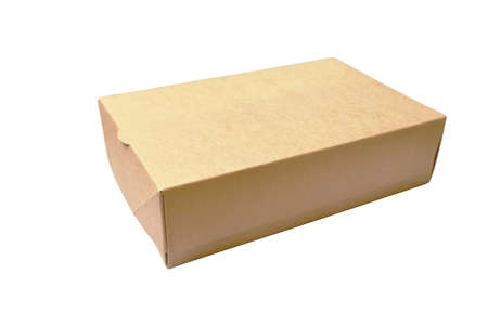 brown hard paper box arranging on white background