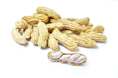 boiled peanuts peel out on white background