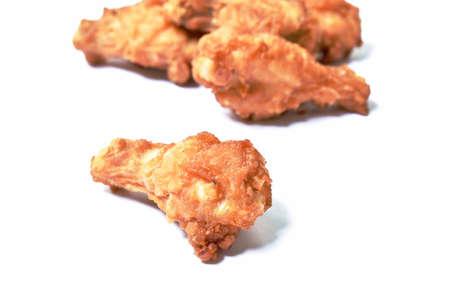 crispy fried chicken drum wing on white background