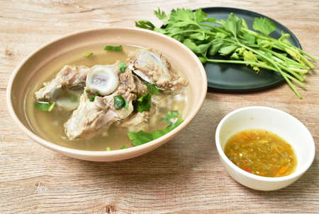 boiled pork bone with Chinese celery soup dipping spicy chili sauce