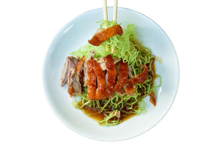 Chinese jade noodles topping slice roasted duck dressing sweet soy sauce picking by chopsticks on plate
