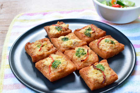 fried bread with chop pork spread eat couple with pickled vegetable sauce