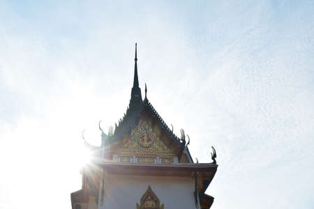 church in Phra Buddha Chai temple contain Phrabuddhabath or Buddha footprint remains for respect in Thailand Stock Photo