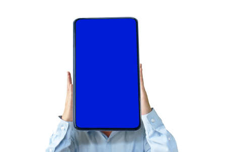 smart phone with blue screen on human head in white background Banque d'images