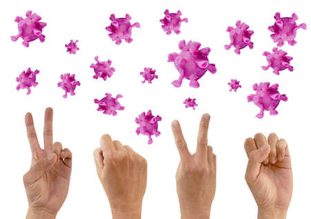 hand sign year 2020 with purple coronavirus or COVID-19 sculpture by clay floating on white background