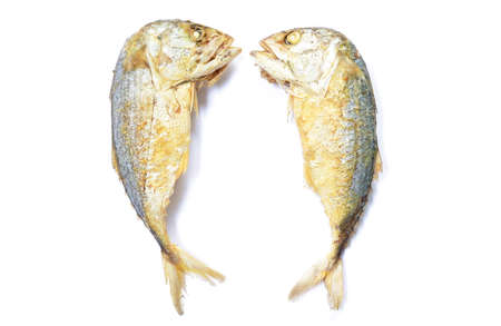 deep fried mackerel fish on white background