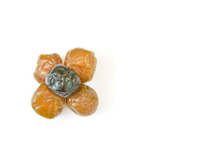 dry blueberry and prune fruit preserved food on white background