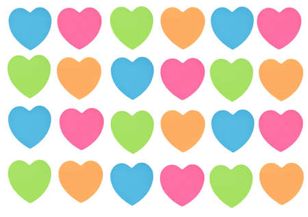 colorful heart paper arranging on white background Banque d'images