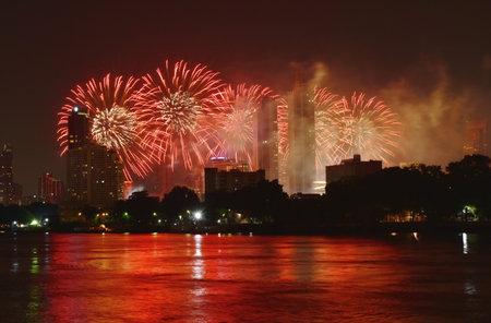 new year celebration fireworks on Cho Phraya river in Thailand