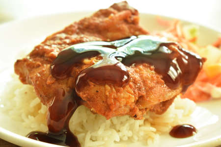 roasted chicken dressing Teriyaki Japanese sauce on rice in plate with vegetable