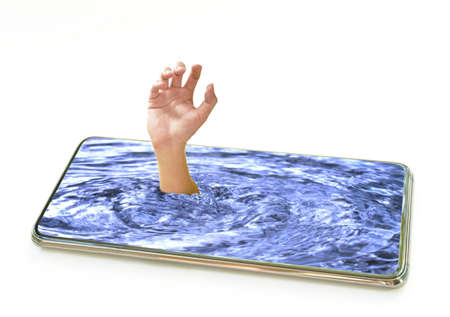 hand drown in water at mobile phone on white background