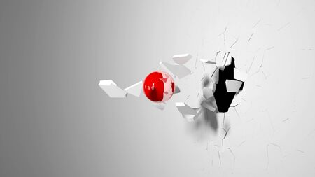break: Red ball destroying a white wall. Stock Photo