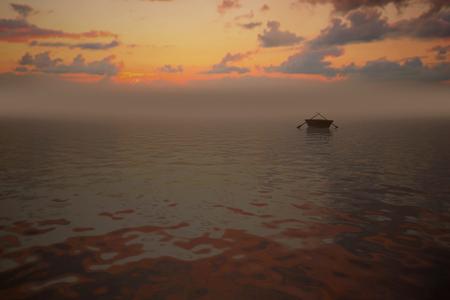 abandoned: Abandoned boat on a sunset,