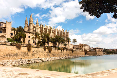 The gothic Cathedral and medieval La Seu in Palma de Mallorca islands, Spain