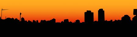 A skyline of a city at the sunset made in Photoshop. Stock Photo
