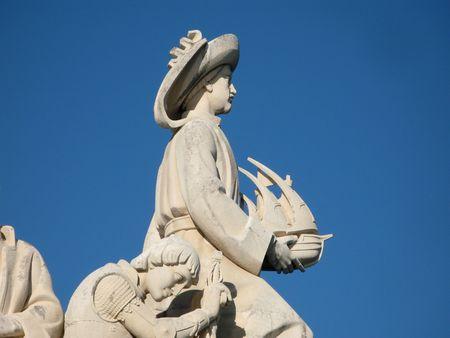 tribute: Detail from the Tribute to the Portuguese discoveries monument. Infante d. Henrique, Belém, Lisboa, Portugal.