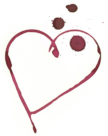 heart shape made with stain from wine glass photo