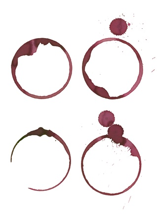 red wine stain: Wine stains made from wineglass Stock Photo