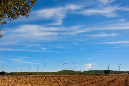 wind turbines in the field against blue cloudy sky, electric generators in countryside, windmills in work Фото со стока