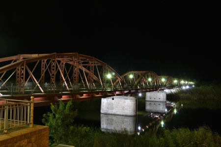 talavera: Iron Bridge, Talavera night Stock Photo