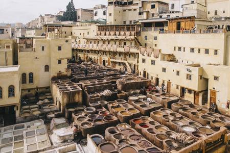 Curtidores del piel en Fez, Marruecos. Editorial