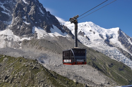 conquering: Conquering Chamonix and Mont Blanc Stock Photo