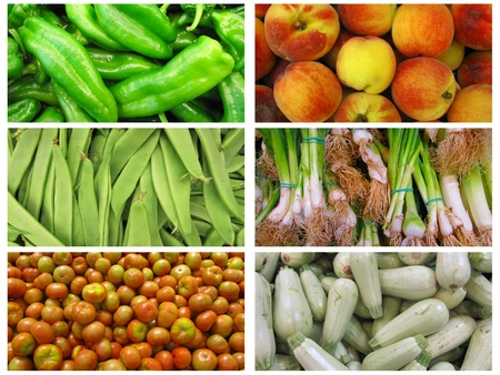 food additives: Collage of fruits and vegetables Stock Photo