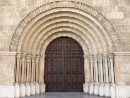 Romanesque church portal  photo