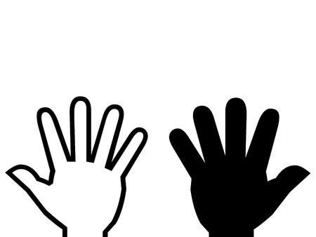 White hand, black hand illustration.