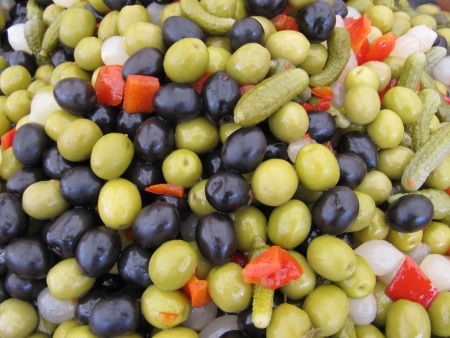Olives pickles cocktail mix  Stock Photo