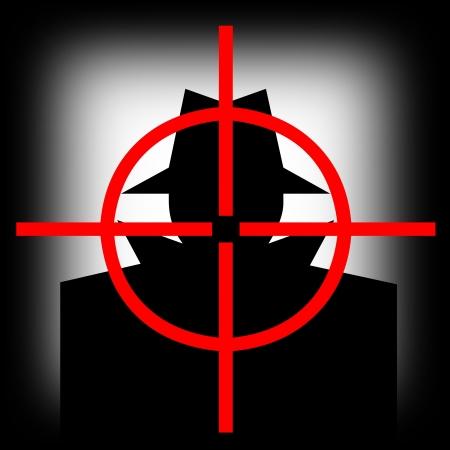 man gun: Gun sight target pointing to the hijacker