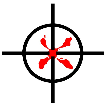 gun sight: Blood stain in gun sight target