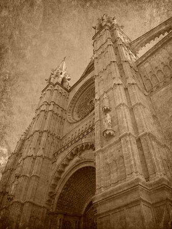 Old photo of the Cathedral of Mallorca photo