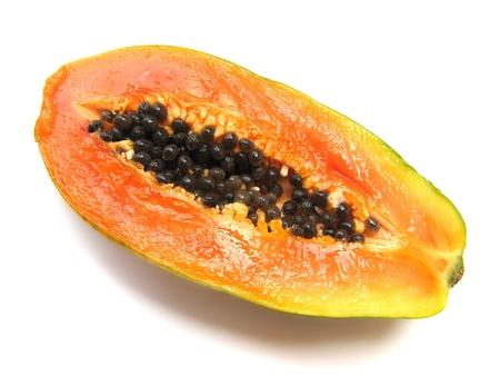 Isolated of papaya, tropical fruit on a white background
