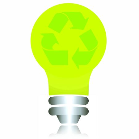 recyclable: Green ecological recyclable bulb.