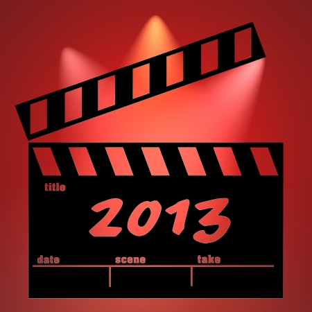 2013 cinema clapperboard red background photo