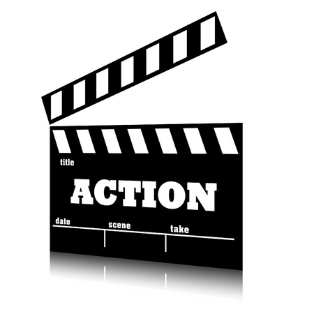 action movie: Clap film of cinema action genre, clapperboard text illustration. Stock Photo